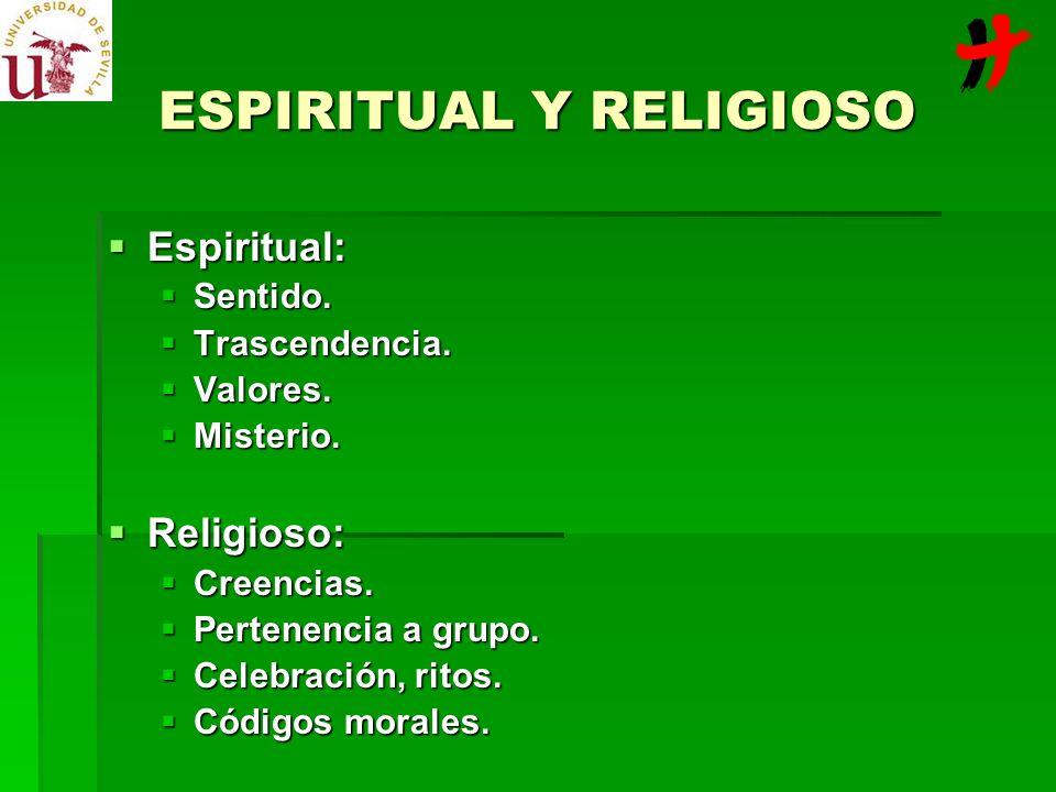Espiritual: Espiritual: Sentido. Sentido. Trascendencia. Trascendencia. Valores. Valores. Misterio. Misterio. Religioso: Religioso: Creencias. Creenci