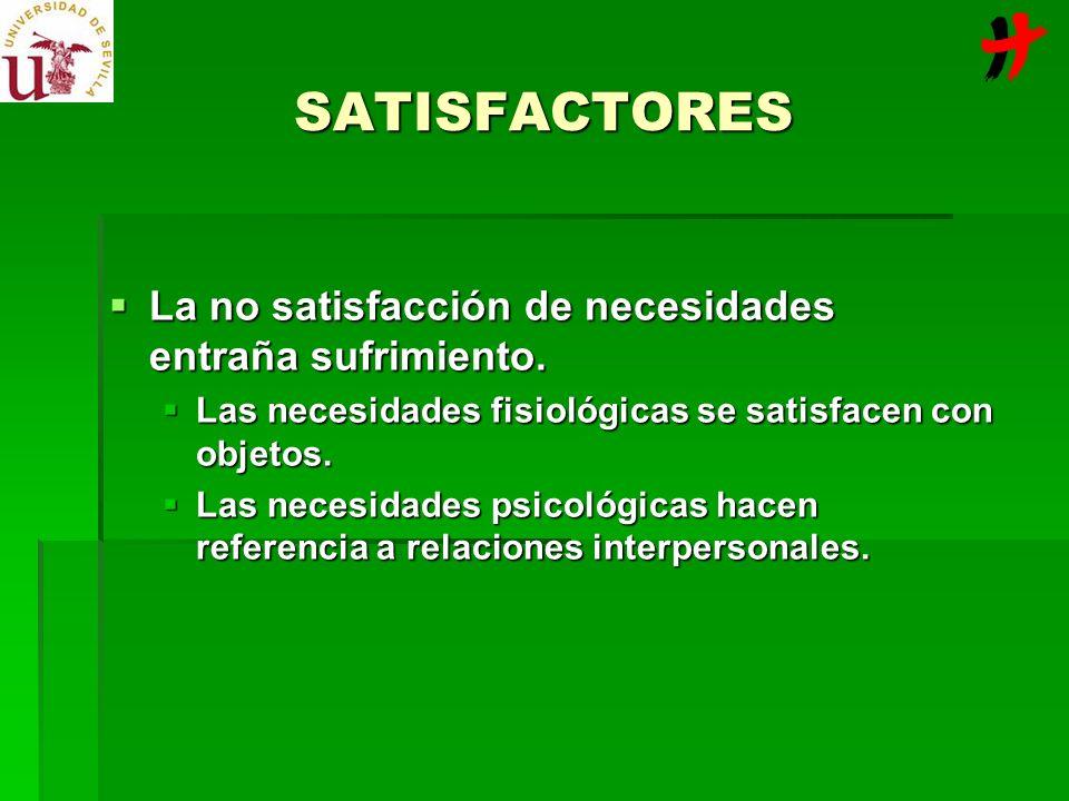 SATISFACTORES La no satisfacción de necesidades entraña sufrimiento. La no satisfacción de necesidades entraña sufrimiento. Las necesidades fisiológic