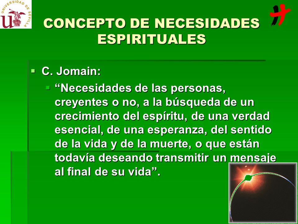 C. Jomain: C. Jomain: Necesidades de las personas, creyentes o no, a la búsqueda de un crecimiento del espíritu, de una verdad esencial, de una espera