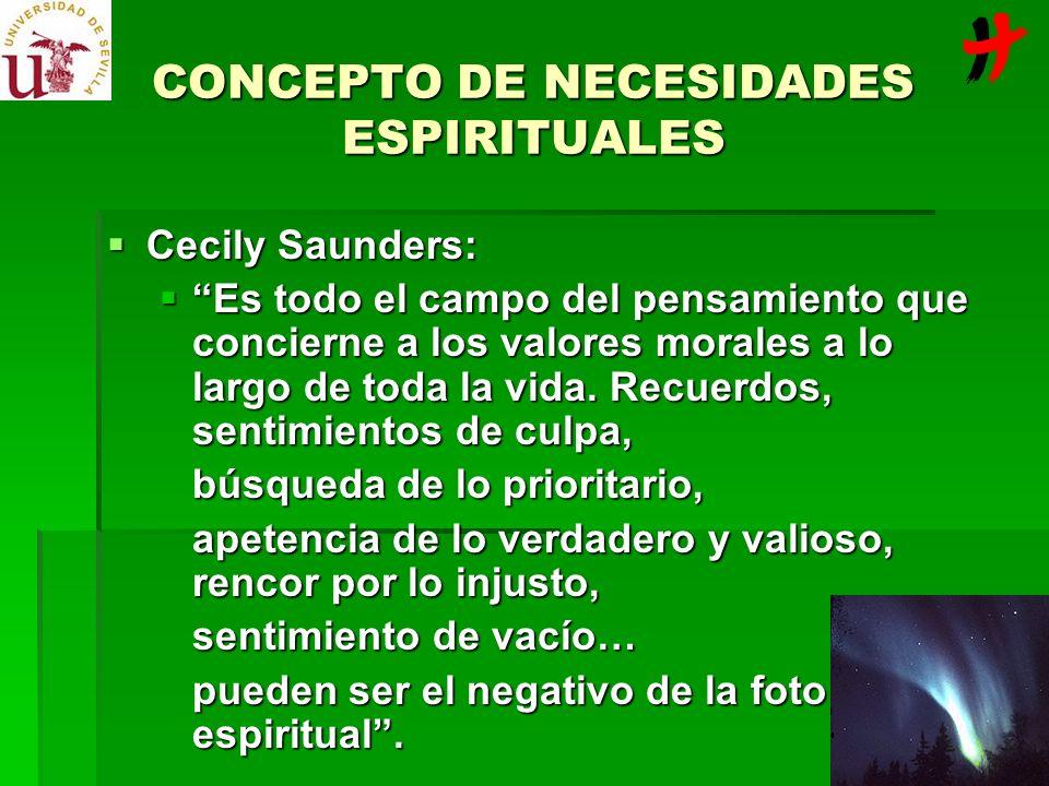 CONCEPTO DE NECESIDADES ESPIRITUALES Cecily Saunders: Cecily Saunders: Es todo el campo del pensamiento que concierne a los valores morales a lo largo