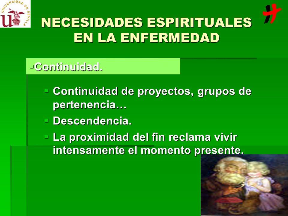 NECESIDADES ESPIRITUALES EN LA ENFERMEDAD Continuidad de proyectos, grupos de pertenencia… Continuidad de proyectos, grupos de pertenencia… Descendenc