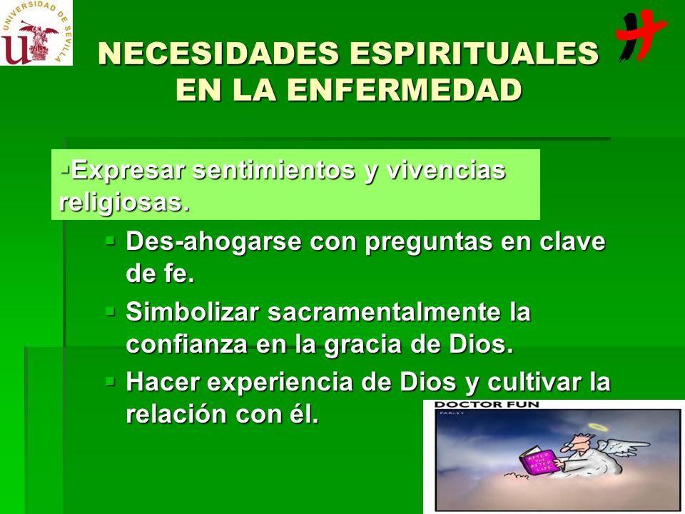 NECESIDADES ESPIRITUALES EN LA ENFERMEDAD Des-ahogarse con preguntas en clave de fe. Des-ahogarse con preguntas en clave de fe. Simbolizar sacramental