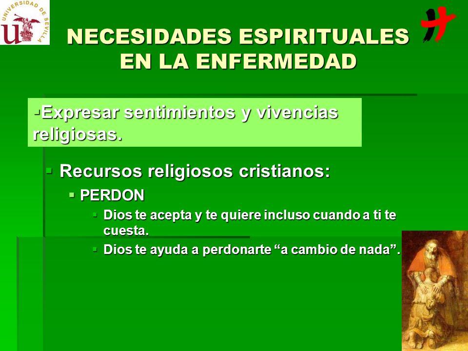 NECESIDADES ESPIRITUALES EN LA ENFERMEDAD Recursos religiosos cristianos: Recursos religiosos cristianos: PERDON PERDON Dios te acepta y te quiere inc