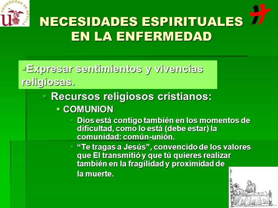 NECESIDADES ESPIRITUALES EN LA ENFERMEDAD Recursos religiosos cristianos: Recursos religiosos cristianos: COMUNION COMUNION Dios está contigo también