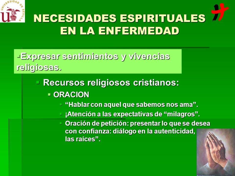NECESIDADES ESPIRITUALES EN LA ENFERMEDAD Recursos religiosos cristianos: Recursos religiosos cristianos: ORACION ORACION Hablar con aquel que sabemos