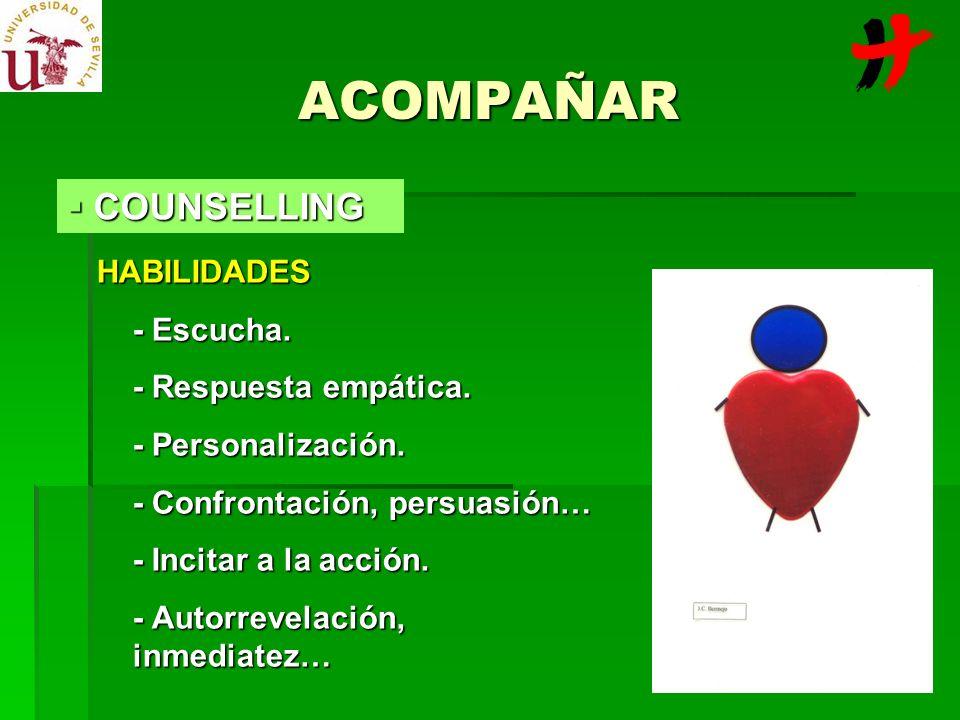 ACOMPAÑAR HABILIDADES - Escucha. - Respuesta empática. - Personalización. - Confrontación, persuasión… - Incitar a la acción. - Autorrevelación, inmed