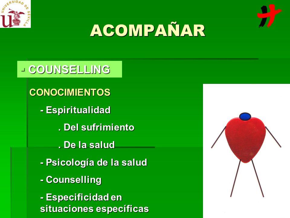 ACOMPAÑAR CONOCIMIENTOS - Espiritualidad. Del sufrimiento. De la salud - Psicología de la salud - Counselling - Especificidad en situaciones específic