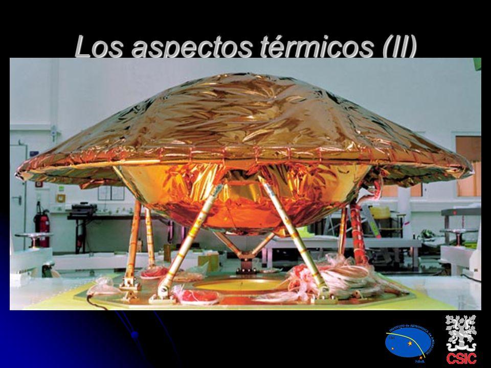 Los aspectos térmicos Rangos extendidos en temperatura. Viene caracterizado por el vacío. Fuentes de calor internas y externas: Radiación solar direct
