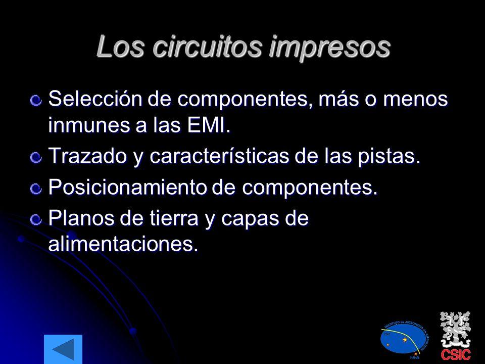 Los problemas electromagnéticos (II) La supresión de las EMI a varios niveles: Circuito impreso Filtrado y aislamiento Apantallamientos La puesta a Ti