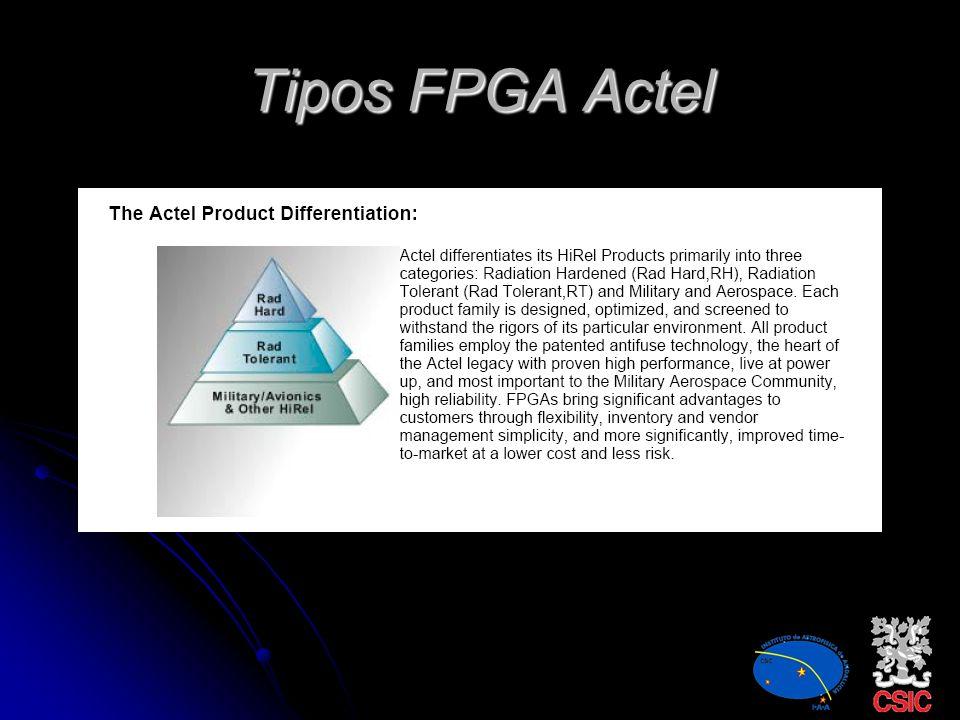 FPGA Actel ActelActel Xilinx XilinxXilinx Atmel AtmelAtmel Permiten el diseño en paralelo Reducción de masa, volumen y consumo Diseñar pensando en pul