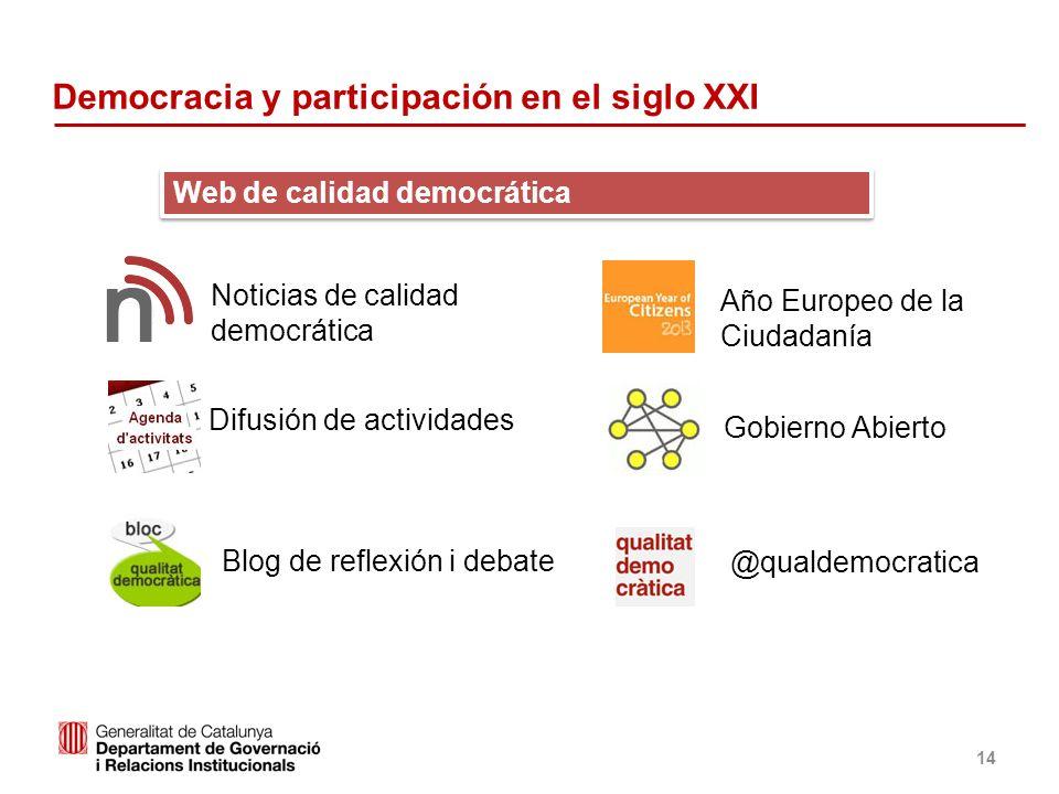 Identificació del departament o organisme 14 Web de calidad democrática Noticias de calidad democrática Difusión de actividades Blog de reflexión i de