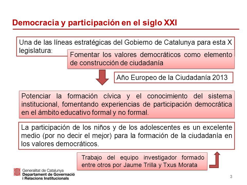 Identificació del departament o organisme 3 Democracia y participación en el siglo XXI Potenciar la formación cívica y el conocimiento del sistema ins