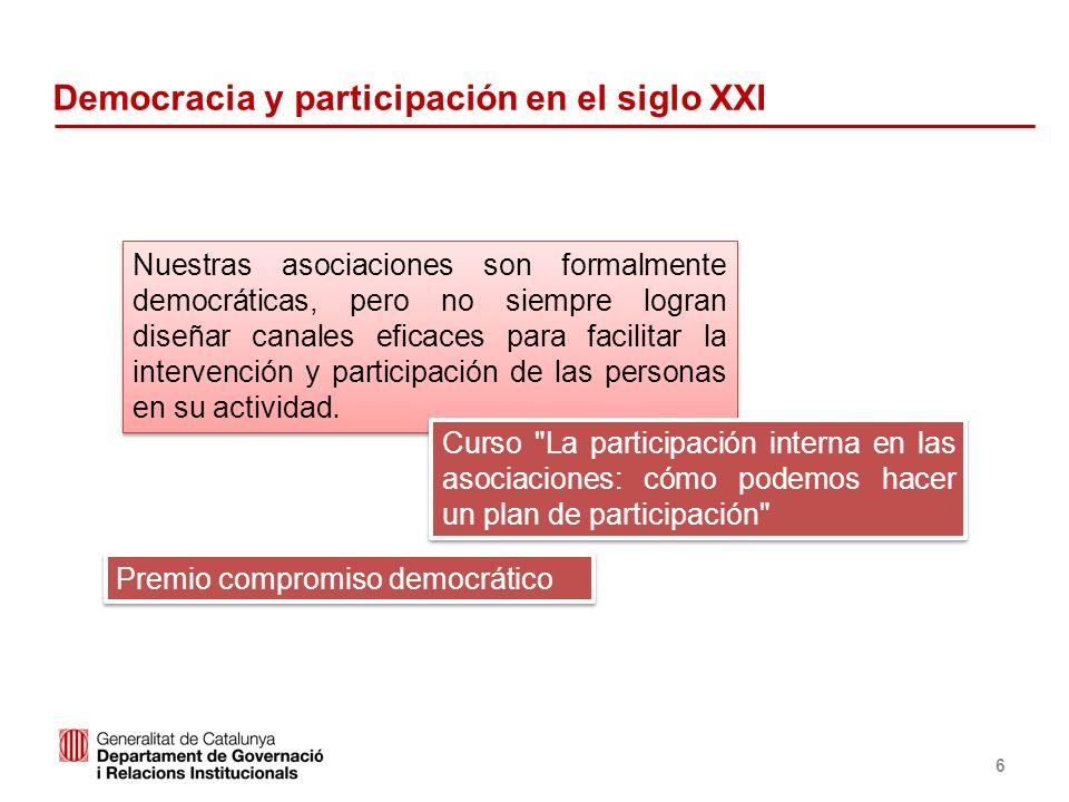 Identificació del departament o organisme 6 Democracia y participación en el siglo XXI Nuestras asociaciones son formalmente democráticas, pero no sie