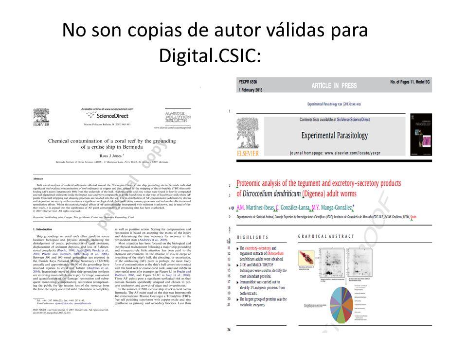 No son copias de autor válidas para Digital.CSIC: