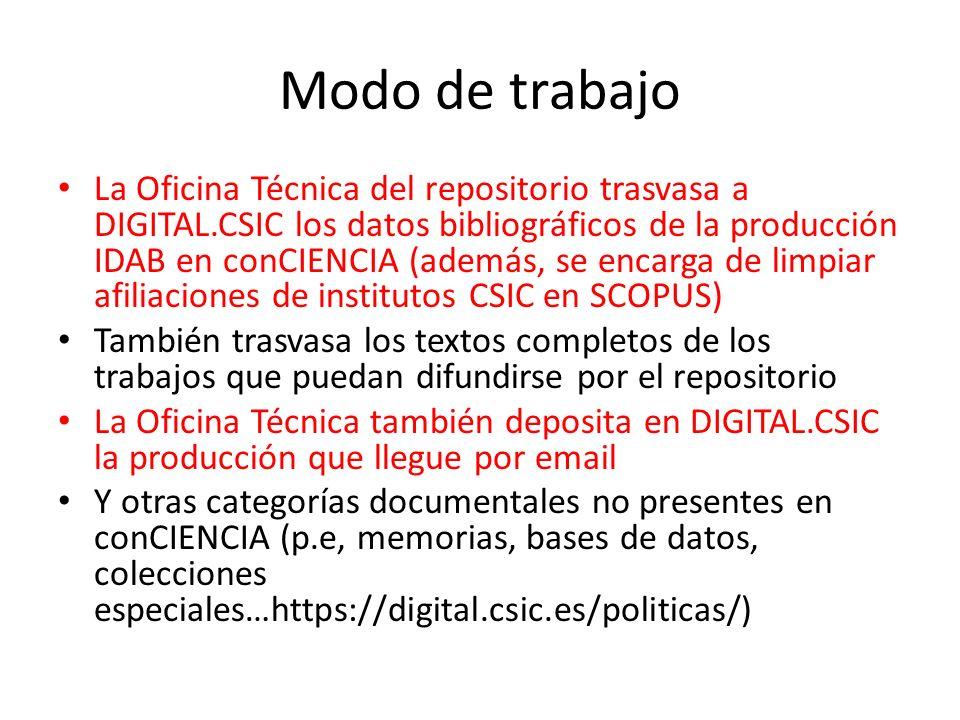 Modo de trabajo La Oficina Técnica del repositorio trasvasa a DIGITAL.CSIC los datos bibliográficos de la producción IDAB en conCIENCIA (además, se en