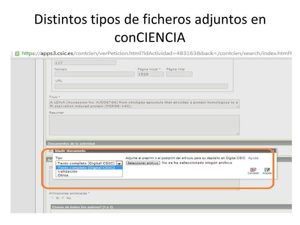 Distintos tipos de ficheros adjuntos en conCIENCIA