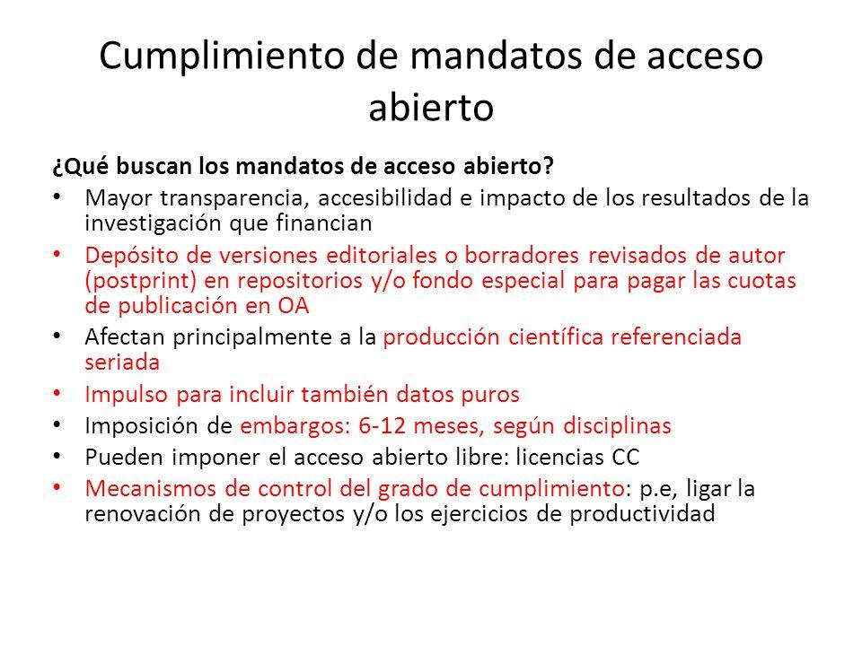 Cumplimiento de mandatos de acceso abierto ¿Qué buscan los mandatos de acceso abierto? Mayor transparencia, accesibilidad e impacto de los resultados