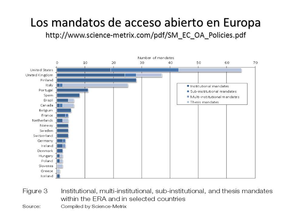 Los mandatos de acceso abierto en Europa http://www.science-metrix.com/pdf/SM_EC_OA_Policies.pdf