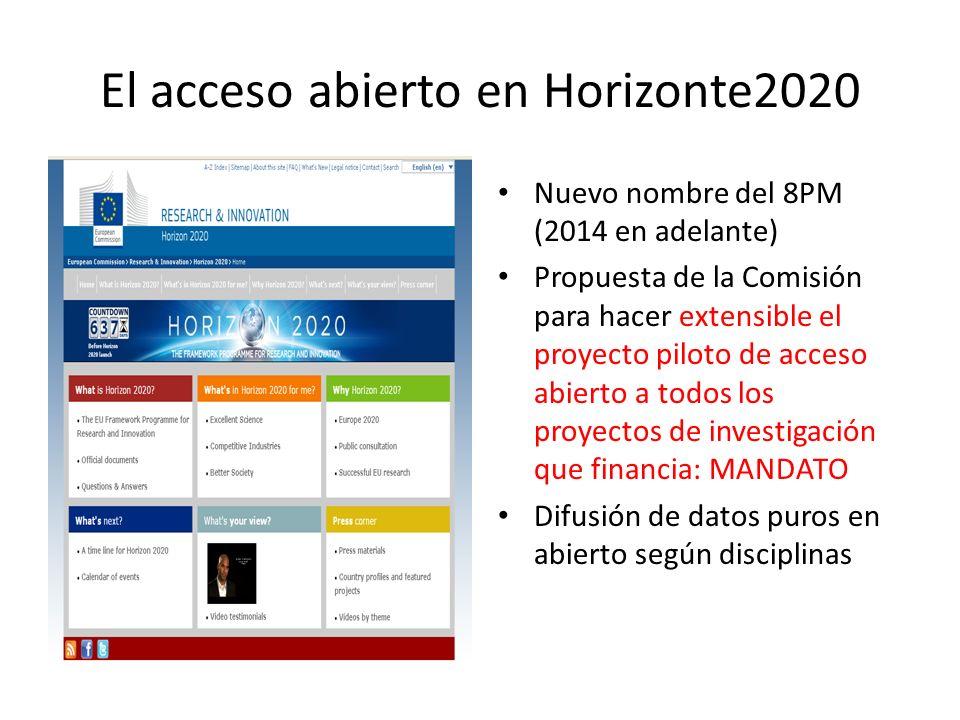 El acceso abierto en Horizonte2020 Nuevo nombre del 8PM (2014 en adelante) Propuesta de la Comisión para hacer extensible el proyecto piloto de acceso