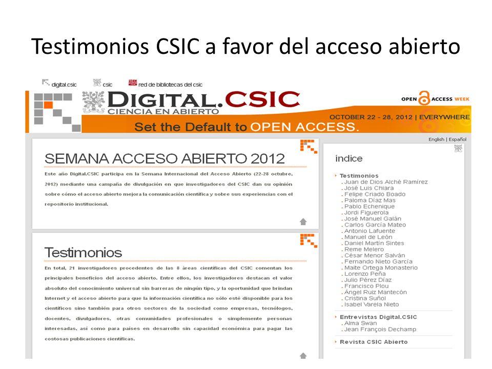 Testimonios CSIC a favor del acceso abierto