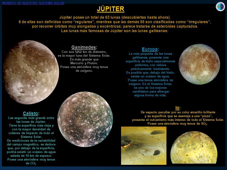 JÚPITER Júpiter posee un total de 63 lunas (descubiertas hasta ahora). 8 de ellas son definidas como regulares, mientras que las demás 55 son clasific