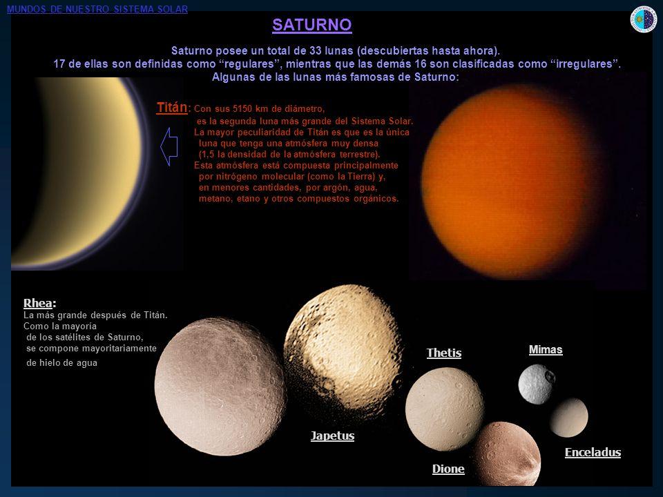 SATURNO Saturno posee un total de 33 lunas (descubiertas hasta ahora). 17 de ellas son definidas como regulares, mientras que las demás 16 son clasifi