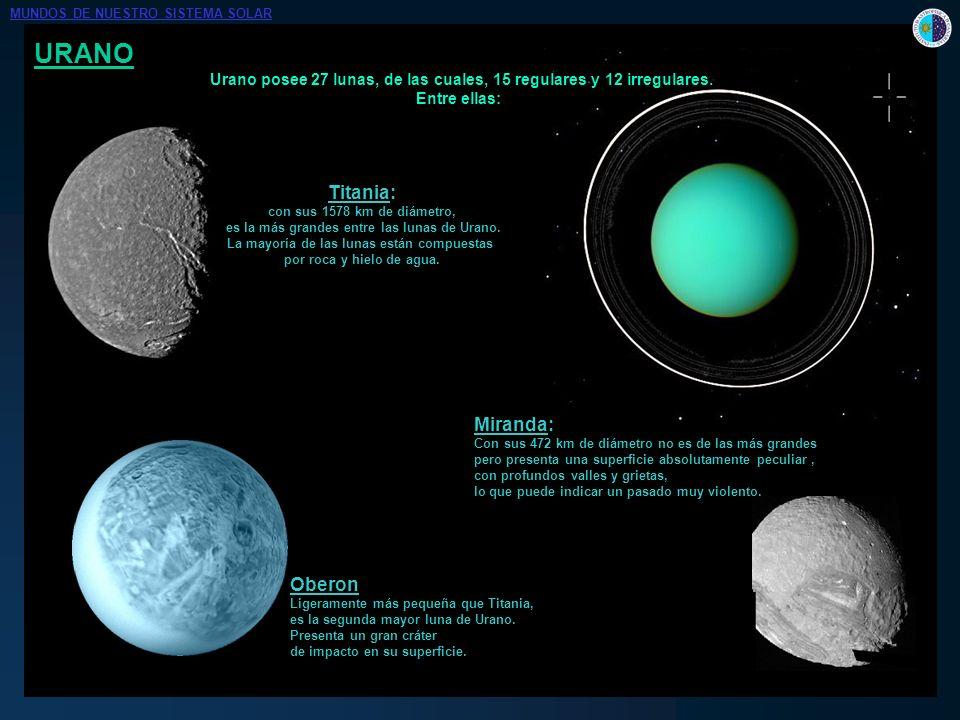 URANO Urano posee 27 lunas, de las cuales, 15 regulares y 12 irregulares. Entre ellas: Titania: con sus 1578 km de diámetro, es la más grandes entre l