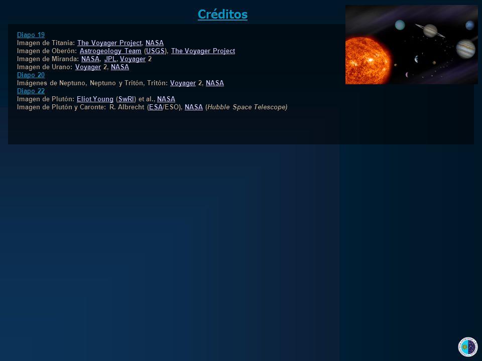 Créditos Diapo 19 Imagen de Titania: The Voyager Project, NASA The Voyager ProjectNASAThe Voyager ProjectNASA Imagen de Oberón: Astrogeology Team (USG