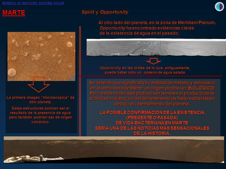 MARTE Spirit y Opportunity La primera imagen microscópica de otro planeta. Estas estructuras podrían ser el resultado de la presencia de agua pero tam