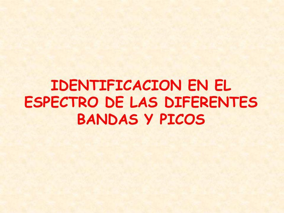 IDENTIFICACION EN EL ESPECTRO DE LAS DIFERENTES BANDAS Y PICOS