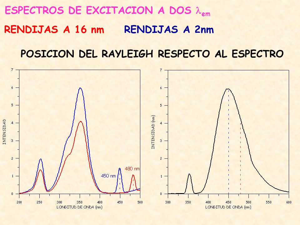 ESPECTROS DE EXCITACION A DOS em RENDIJAS A 16 nmRENDIJAS A 2nm POSICION DEL RAYLEIGH RESPECTO AL ESPECTRO