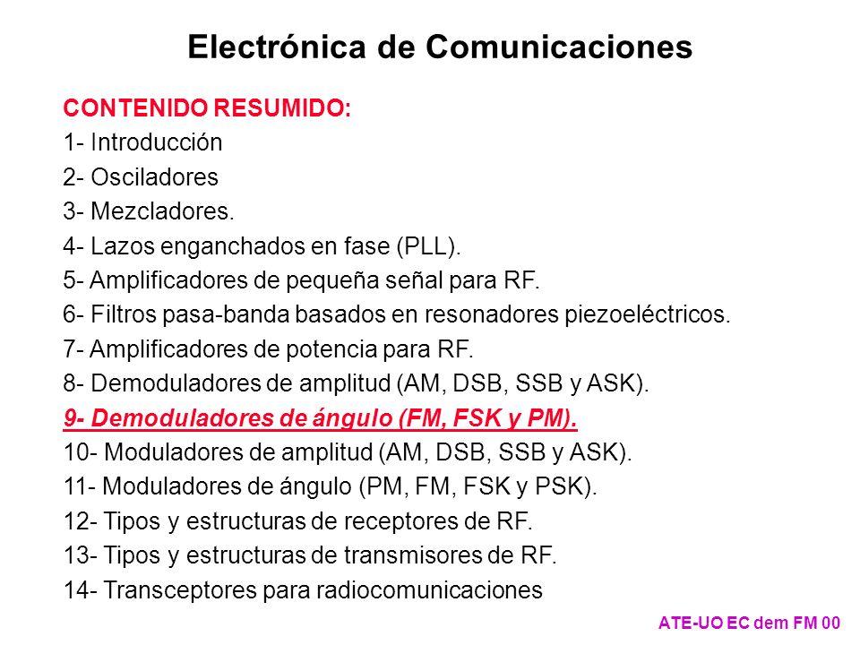 ATE-UO EC dem FM 11 El discriminador de Foster-Seely (II) Como v s /v e = k 1 /(1 - L eq C eq 2 + j L eq /R eq ), si = r = 1/(L eq C eq ) 1/2, entonces v s /v e = k 1 R eq /(j r L eq ), es decir, v s y v e están desfasados 90º El circuito se diseña para r = p (en la práctica r = FI ) También se cumple que v dFM = v s1 - v s2 = v e + v s - v e - v s C v s1 + - + - R C D v s2 + - + - R C D v dFM + - v s1 v s2 vsvs + - vsvs + - veve + - Acoplamiento no ideal R 1:1:1