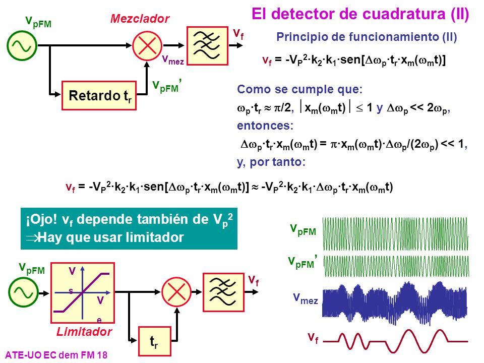 ATE-UO EC dem FM 18 El detector de cuadratura (II) Mezclador vf vf v mez Retardo t r v pFM Como se cumple que: p ·t r /2, x m ( m t) 1 y p << 2 p, ent