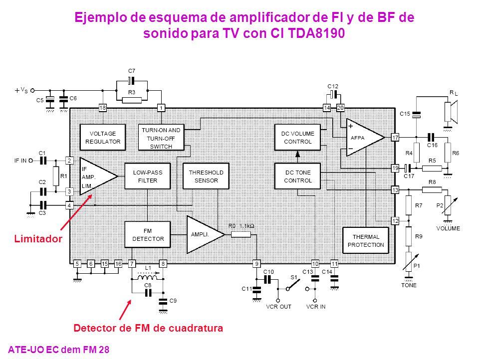 Ejemplo de esquema de amplificador de FI y de BF de sonido para TV con CI TDA8190 Detector de FM de cuadratura Limitador ATE-UO EC dem FM 28