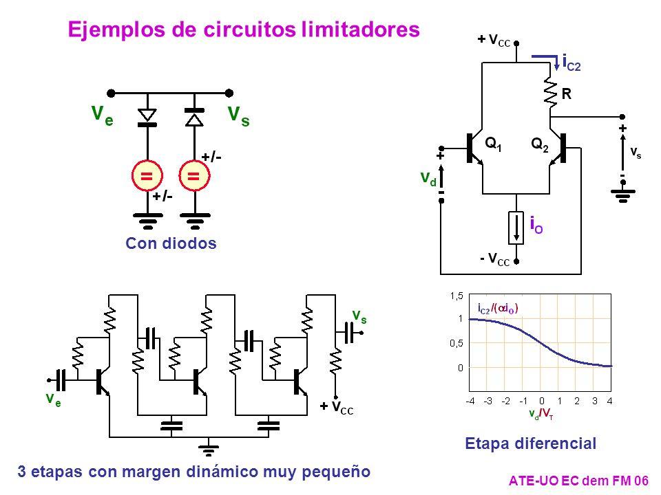 ATE-UO EC dem FM 06 Ejemplos de circuitos limitadores Etapa diferencial 3 etapas con margen dinámico muy pequeño Con diodos