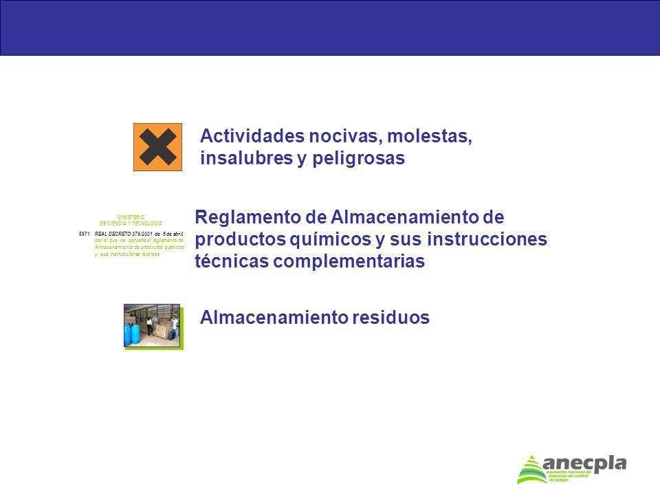 Actividades nocivas, molestas, insalubres y peligrosas Reglamento de Almacenamiento de productos químicos y sus instrucciones técnicas complementarias
