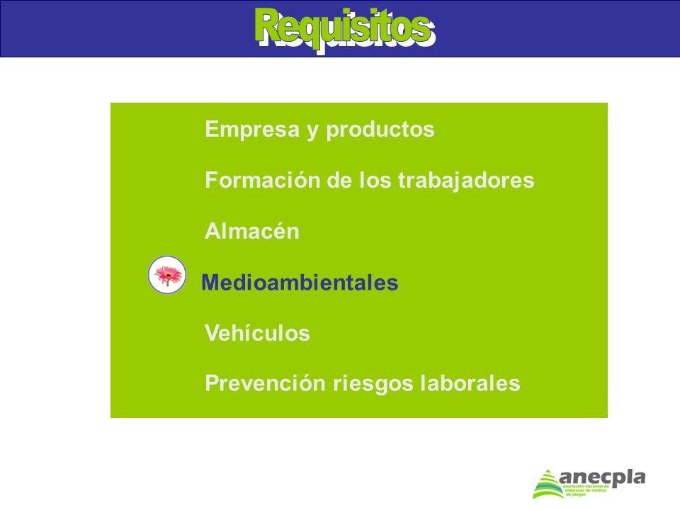 Empresa y productos Formación de los trabajadores Almacén Vehículos Prevención riesgos laborales Medioambientales