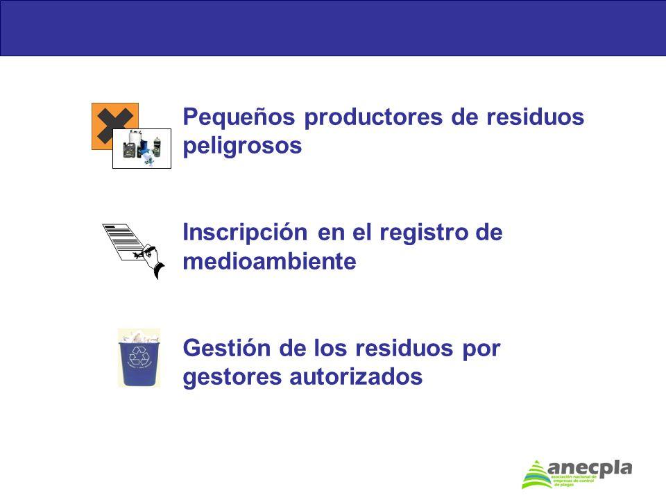 Pequeños productores de residuos peligrosos Inscripción en el registro de medioambiente Gestión de los residuos por gestores autorizados