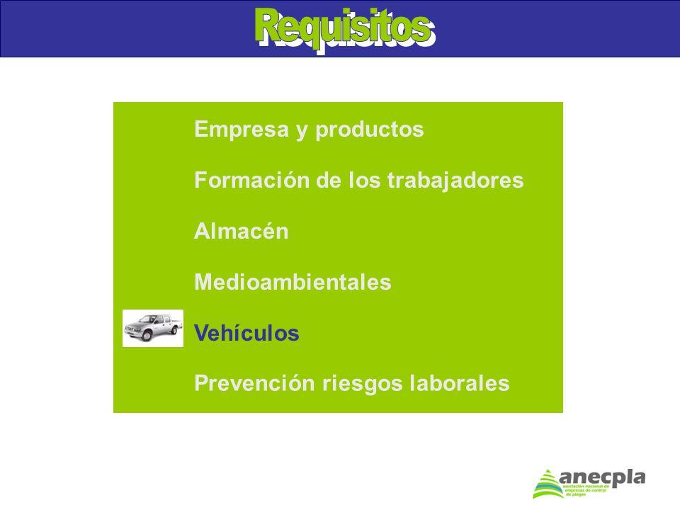 Empresa y productos Formación de los trabajadores Almacén Medioambientales Prevención riesgos laborales Vehículos