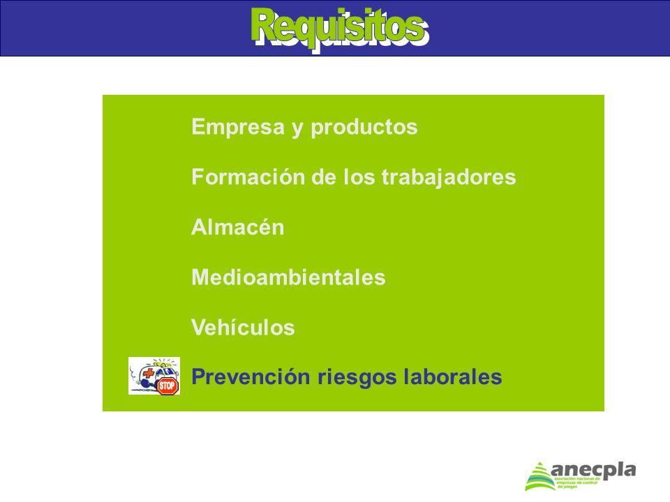 Empresa y productos Formación de los trabajadores Almacén Medioambientales Vehículos Prevención riesgos laborales