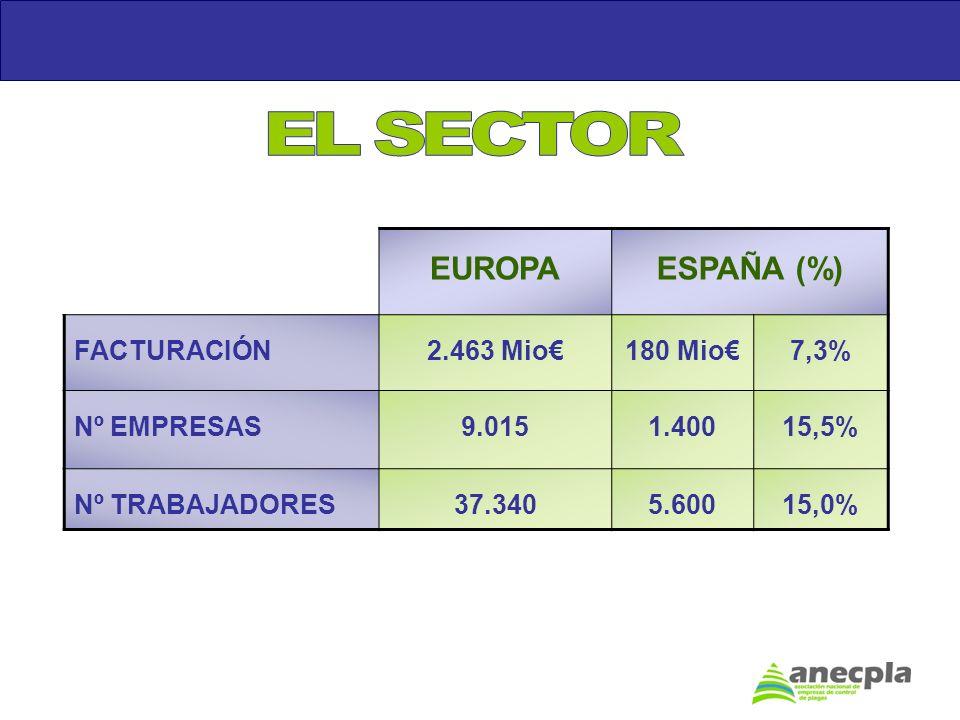 EUROPAESPAÑA (%) FACTURACIÓN2.463 Mio180 Mio7,3% Nº EMPRESAS9.0151.40015,5% Nº TRABAJADORES37.3405.60015,0%