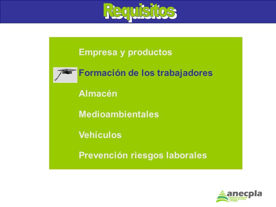 Almacén Medioambientales Vehículos Prevención riesgos laborales Empresa y productos Formación de los trabajadores