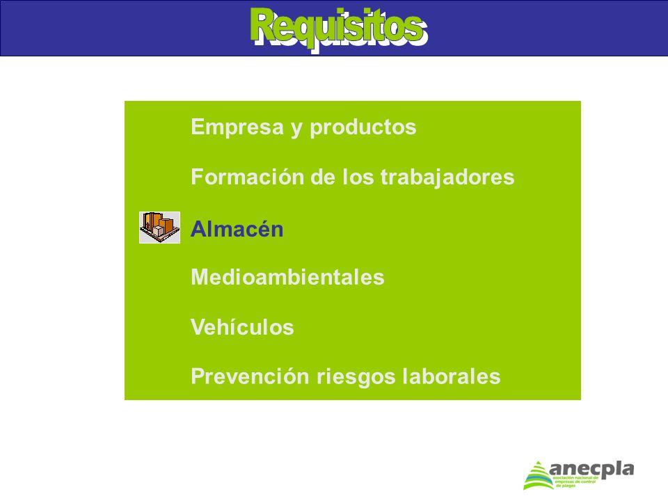 Empresa y productos Formación de los trabajadores Medioambientales Vehículos Prevención riesgos laborales Almacén