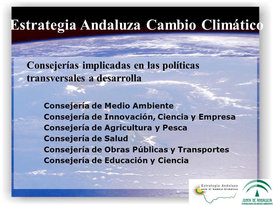 Consejerías implicadas en las políticas transversales a desarrolla Consejería de Medio Ambiente Consejería de Innovación, Ciencia y Empresa Consejería