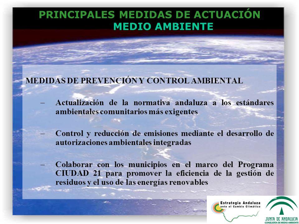PRINCIPALES MEDIDAS DE ACTUACIÓN MEDIO AMBIENTE MEDIDAS DE PREVENCIÓN Y CONTROL AMBIENTAL –Actualización de la normativa andaluza a los estándares amb