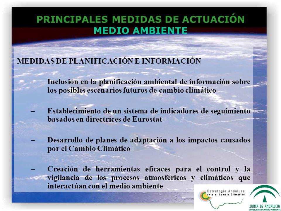 PRINCIPALES MEDIDAS DE ACTUACIÓN MEDIO AMBIENTE MEDIDAS DE PLANIFICACIÓN E INFORMACIÓN –Inclusión en la planificación ambiental de información sobre l