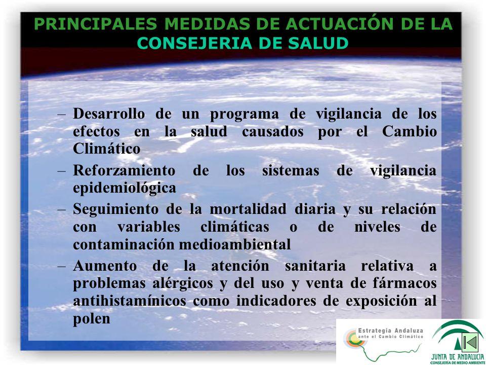 PRINCIPALES MEDIDAS DE ACTUACIÓN DE LA CONSEJERIA DE SALUD –Desarrollo de un programa de vigilancia de los efectos en la salud causados por el Cambio