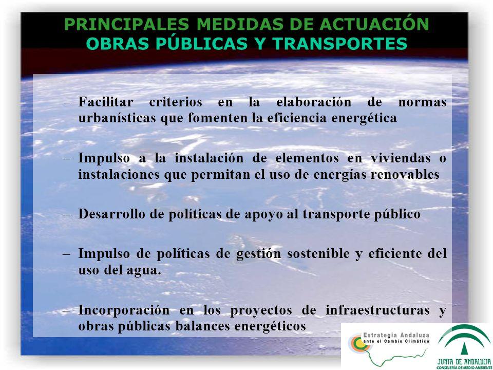 PRINCIPALES MEDIDAS DE ACTUACIÓN OBRAS PÚBLICAS Y TRANSPORTES –Facilitar criterios en la elaboración de normas urbanísticas que fomenten la eficiencia
