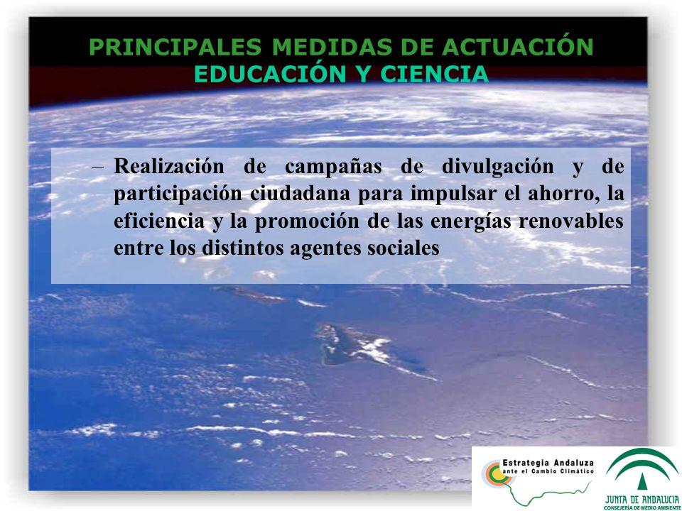 PRINCIPALES MEDIDAS DE ACTUACIÓN EDUCACIÓN Y CIENCIA –Realización de campañas de divulgación y de participación ciudadana para impulsar el ahorro, la