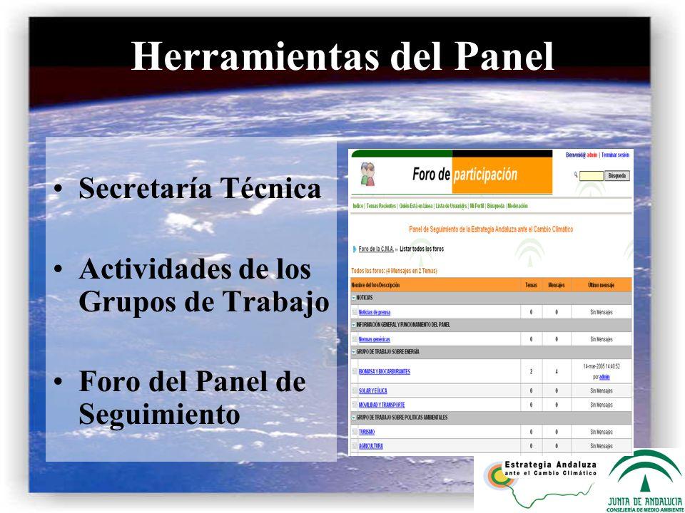 Herramientas del Panel Secretaría Técnica Actividades de los Grupos de Trabajo Foro del Panel de Seguimiento